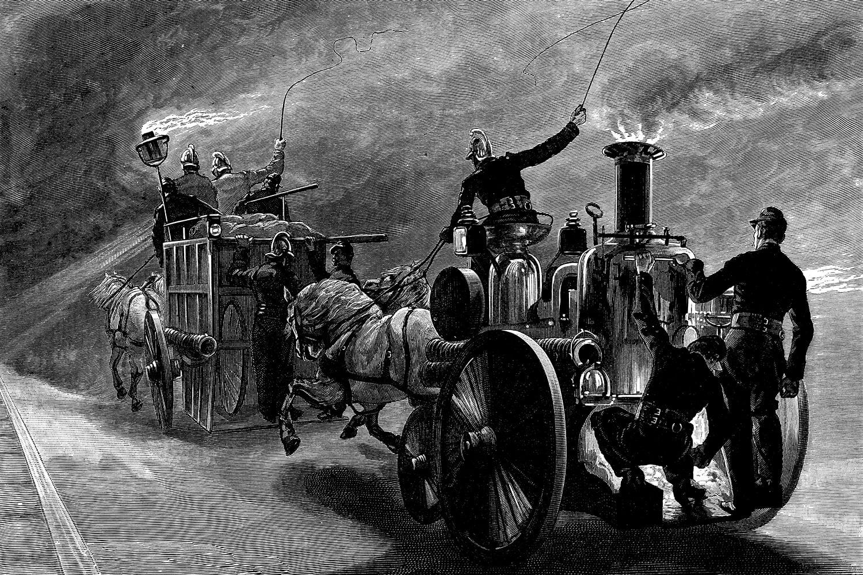 Un'incisione sui pompieri parigini