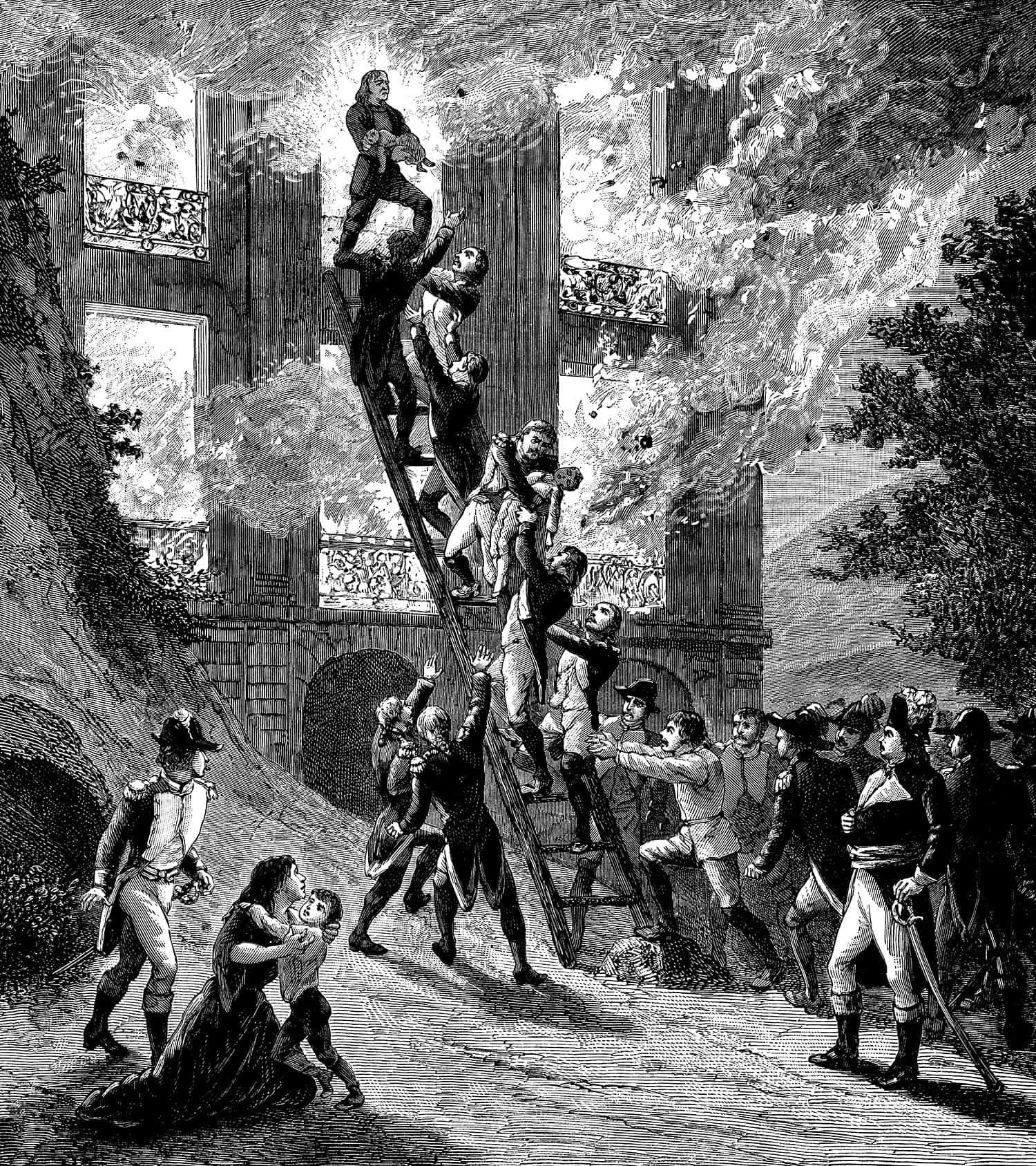 Pompieri parigini in azione, ritratti in un'antica incisione